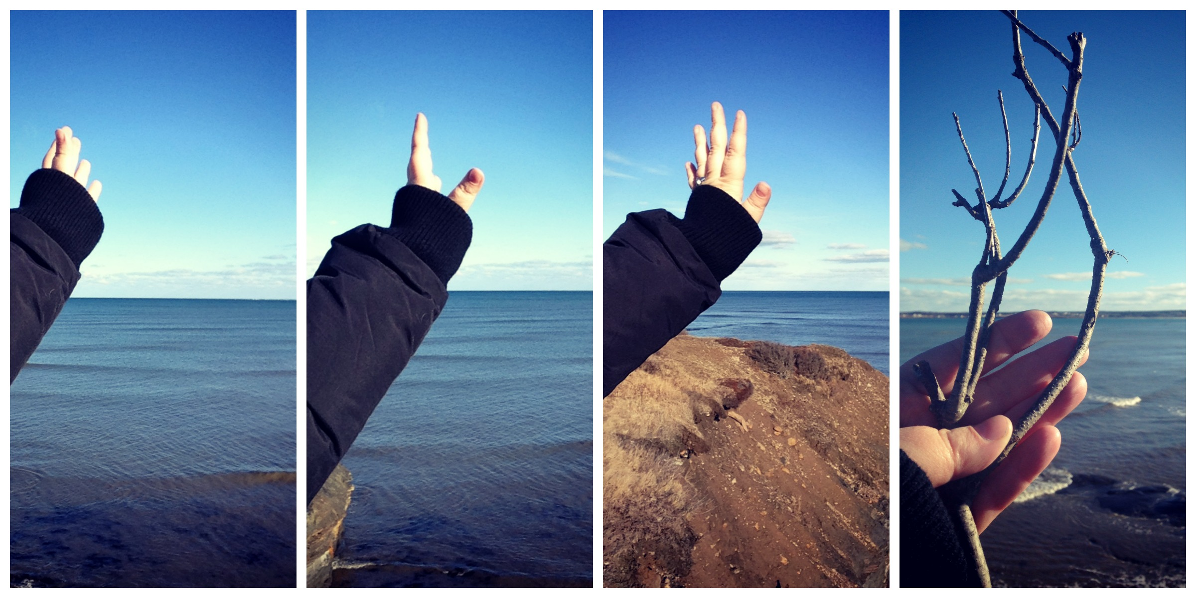 Hands and Ocean Collage